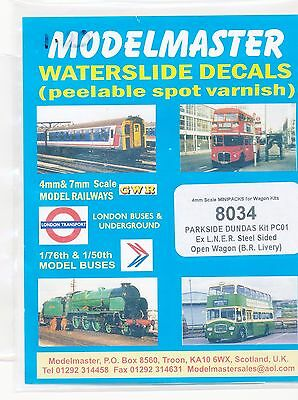 Modelmaster Decals 8034 BR Livery (ex-LNER) Steel Sided Open Wagon 4mm scale