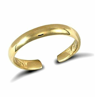 New Hallmarked Solid 9ct Yellow Gold Plain D-Shape Band Toe Ring Adjustable