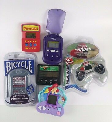 Lot of 6 Electronic Hand Held Games Freecell, Football, Radica, etc - tested