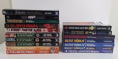 Mixed Lot of 17 Manga Books English Silent Mobius, Alita, Street Fighter, others