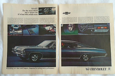 1967 Chevrolet SS 427 Super Sport 2 Page Magazine advertising ad print