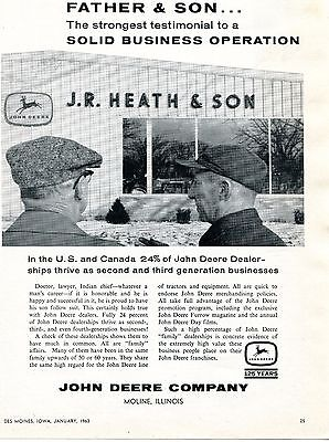 1963 Print Ad of John Deere Tractor Father & Son Dealer JR Heath & Son