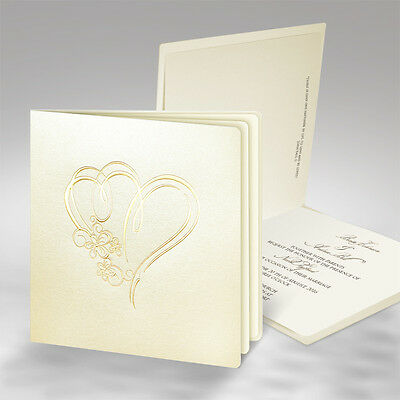 50 Personalised Wedding Invitations Gold Plated Hearts  Free P*P FREE ENVELOPES