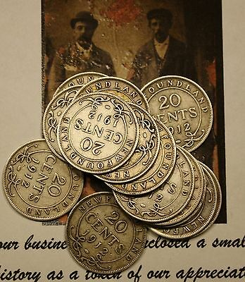 1912 Newfoundland Canada Silver  20 Cents (14 In Total) Titanic Era Coins