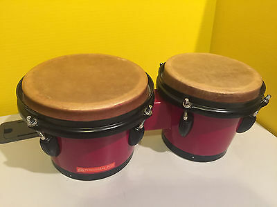 """Percussion Plus - Wooden Bongo Drums - Red 6.5"""" + 7.5"""" Good Condition"""