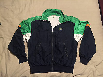 Chemise LACOSTE Vintage 1980's Retro Shell Suit Tracksuit Top Jacket Extra Large