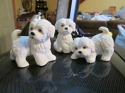 3 Vintage Porcelain White Maltese Playful Puppies Homco 1411 Puppy Dog Figurines