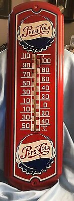 "Vintage Pepsi Cola Sign Large Thermometer 27"" Outdoor Model EXCELLENT"