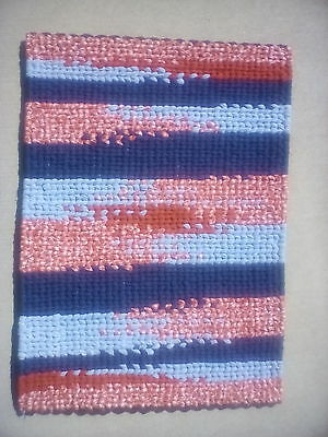 "Twined Rug Red White Blue Handmade Original 27"" x 20"" One Of A Kind"