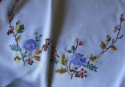 Beautiful Large Vintage White Linen Embroidered Tablecloth Flowers Acorns Floral