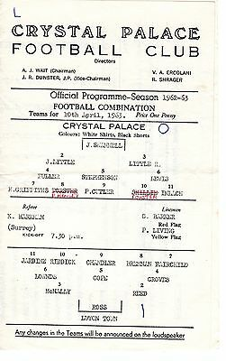 Crystal Palace v Luton Town Reserves Programme 10.4.1963