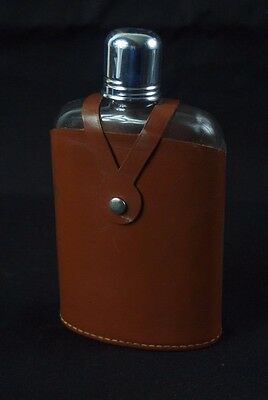 Vintage Hip Flask with Leather Cover