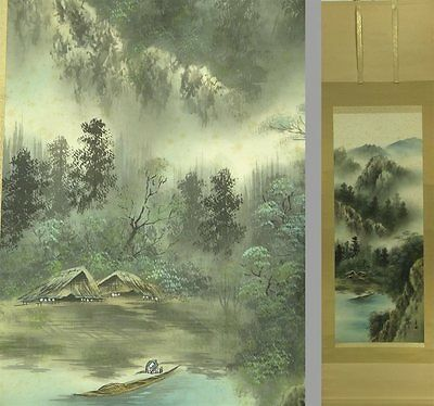 YK571 KAKEJIKU Landscape Summer Hanging Scroll Japanese painting Nihonga Picture