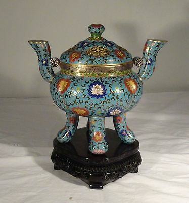 Vintage Chinese Cloisonne Gilt Bronze Censer Base Stand Republic
