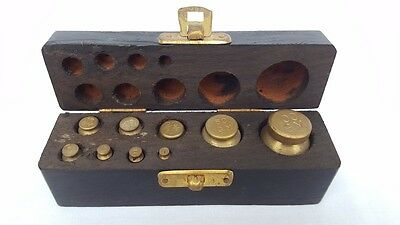 9 Piece Wooden Box Set Of Calibration Weights