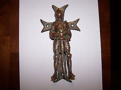 Very Rare Antique Bronze Brass Knight Door Knocker Soldier Sword Armour 8 inches