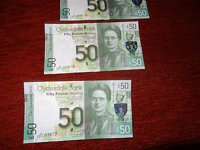 Clydesdale Bank £50 Note,Glasgow 16.08.2015 Uncirculated Condition. Brand New