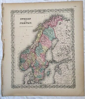 SWEDEN and NORWAY, No 20, Antique Atlas Map 1855 Colton World Maps +