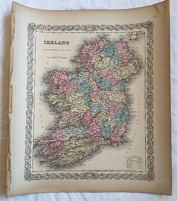 IRELAND No 6, Antique Atlas Map 1855 Colton World Maps