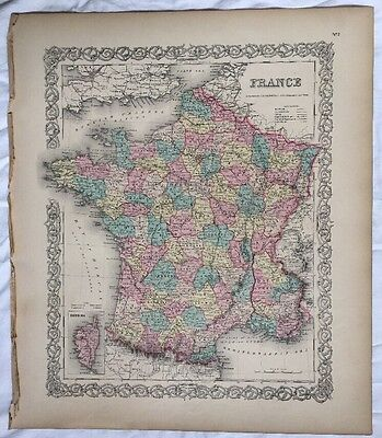 FRANCE No 7, Antique Atlas Map 1855 Colton World Maps +