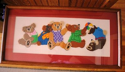 Vintage Finished Teddy Bears at Play  Embroidery Long Stitch Glass Matte Frame