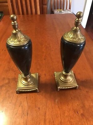 + Pair of Vintage Lidded  Vases / Urns Brass And Glass? Marble Design Matching