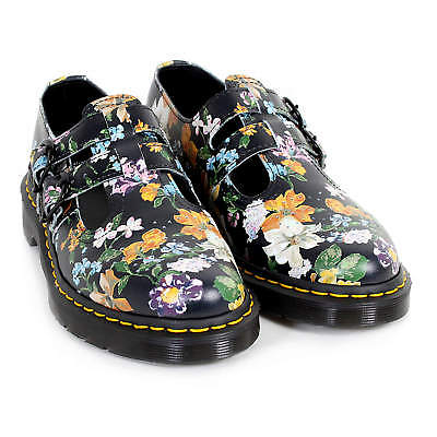 Dr Martens Women's 8065 Darcy Floral Backhand Leather Shoe Black
