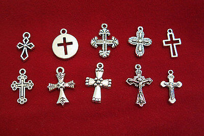 """10pc set """"cross"""" charms in antique silver style (BC842)"""