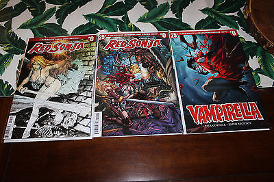 Red Sonja #0✳1:50 Peterson Variant ✳Bradshaw Cover✳Vampirella #0✳3 Book Lot✳