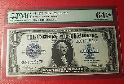 USA Silver Certificate Large Size 238 Woods White 1923 PMG 64 Designation Star