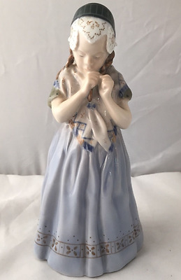Royal Copenhagen Girl from Borholm Porcelain Figurine Blue/White #1323 EXCELLENT