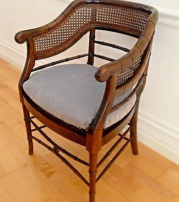 Vintage Chinese Chippendale Style Faux Bamboo Cane Arm Chair