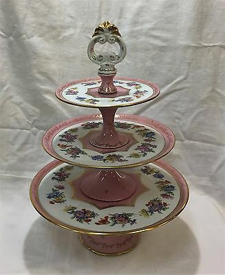 Sevres France Porcelain 3-Tiered Pastry Dessert Tazza - Serving Stand