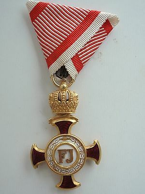 Austria Cross Of Merit 1St Class. Made In Gold! Rare! Ef! Maker's Name.