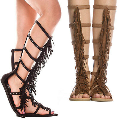 4de94ca22ef6 New Women Fringe Gladiator Knee High Flat Sandal Shoe Studded Strappy Cage  Shaft