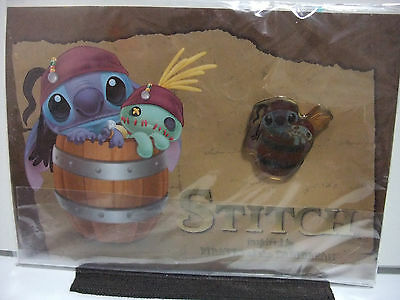 Disney Stitch Pirates Caribbean Captain Jack Sparrow & Scrump Barrel Pin Japan