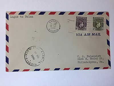 Nigeria First Flight Airmail Cover Lagos to Belem 1941 to USA sc# 60 61