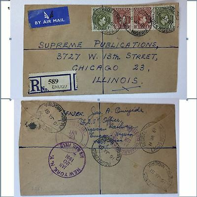 Nigeria Registered Airmail Cover Etiquette labels to USA Sc# 55 61 1951