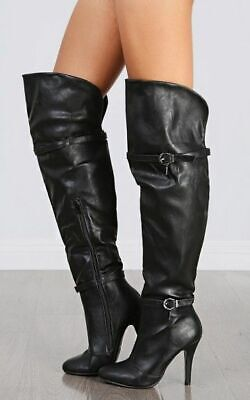 New Women Over The Knee High Boot Stiletto Heel Slouch Buckle Strap Zip Foldable