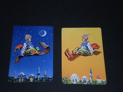 Pair Vintage Playing Swap Cards Deplicting Magic Flying Carpets
