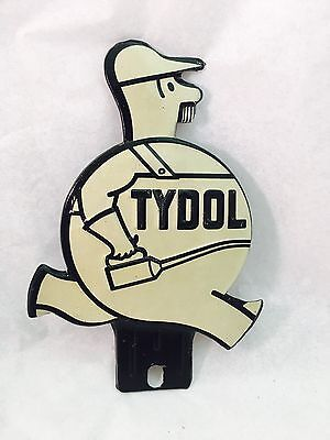 VTG White Tydol Oil Can Man Tag Topper License Plate Attachment Metal Sign