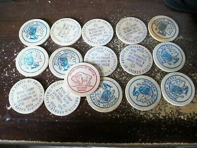 Vintage 1976 Bicentennial Wooden Nickel Stone Stamp & Coin Sales Lexington KY