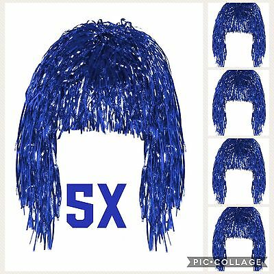 Set Of 5 Tinsel Wig Blue Shiny Metallic Foil  70s 80s Fancy Dress Wig Accessory