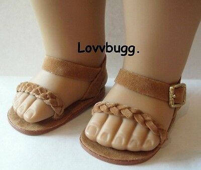 "Brown Braided Sandals Shoes for 18"" American Girl Doll n Baby Clothes Lovvbugg"