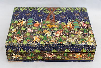 Vintage Russian Laquered Wood Trinket/Jewelry Box - Hand Painted Hunter & Animal