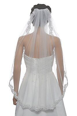 """1T 1 Tier Floral Scallop Embroided Lace Pearl Veil - Ivory Fingertip Length 36"""""""