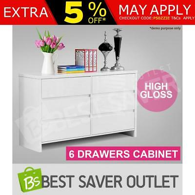 6 Chest Drawers Dressers Cabinet Storage Buffet Sideboard Table High Gloss White