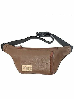 Brown Faux Leather Travel Fanny Pack w/ Key