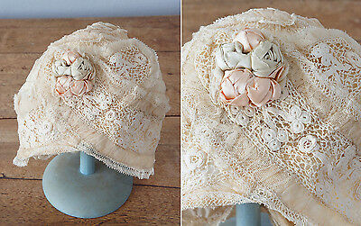 Vintage 1920s Paris Label Boudoir Cap - Irish Crochet, Ribbonwork, Bobbin Lace