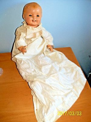 Vintage Effanbee Lovums Baby Doll Composition Dolly christening dress teeth TLC